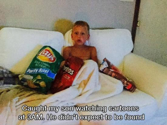 funny photo of son caught watching cartoons at 3am