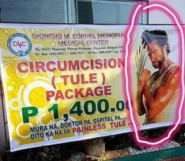 funny picture of foreign sign for circumcision with wolverine on it