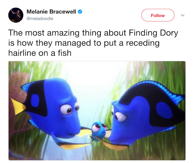 funny picture of reciding hairline on fish in finding dory