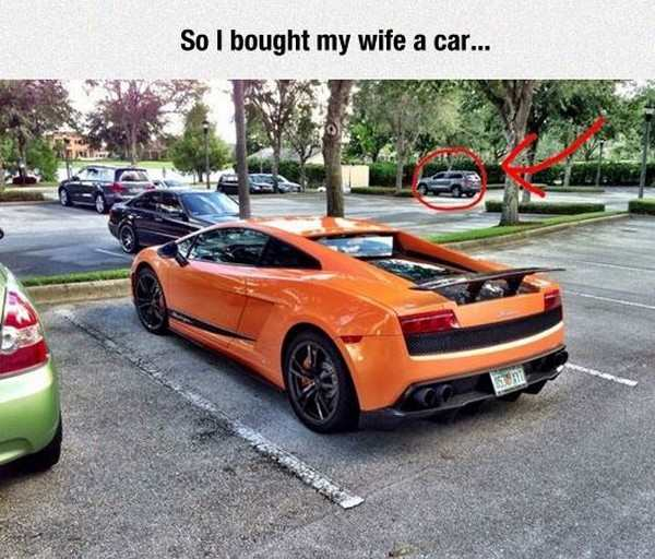 silly picture of bought wife a car lamborghini in front, real car in the back