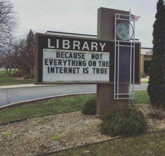 silly picture of library sign says because not everything on the internet is true