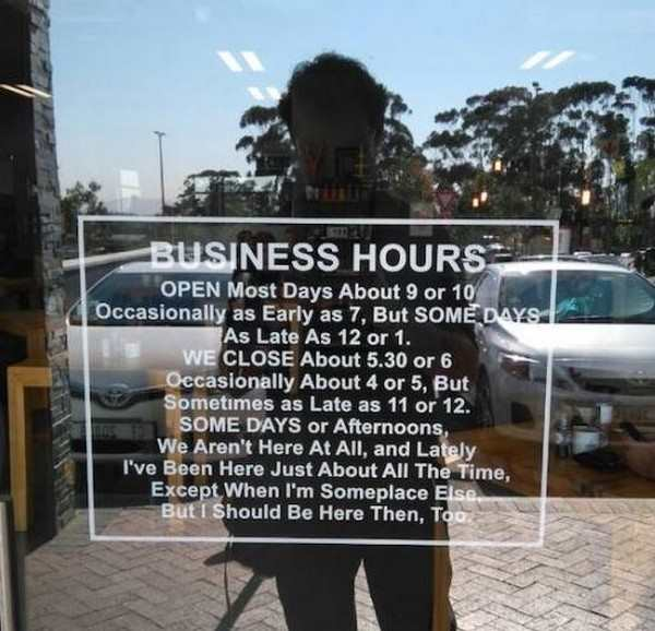 funny image of funny store business hours