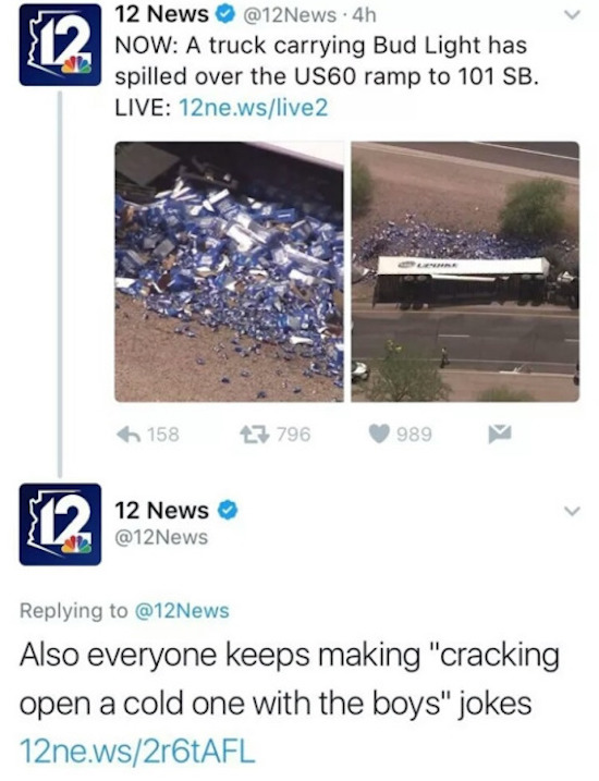 funny pictures of news reporting bud light truck spill and people making cracking open a cold one jokes