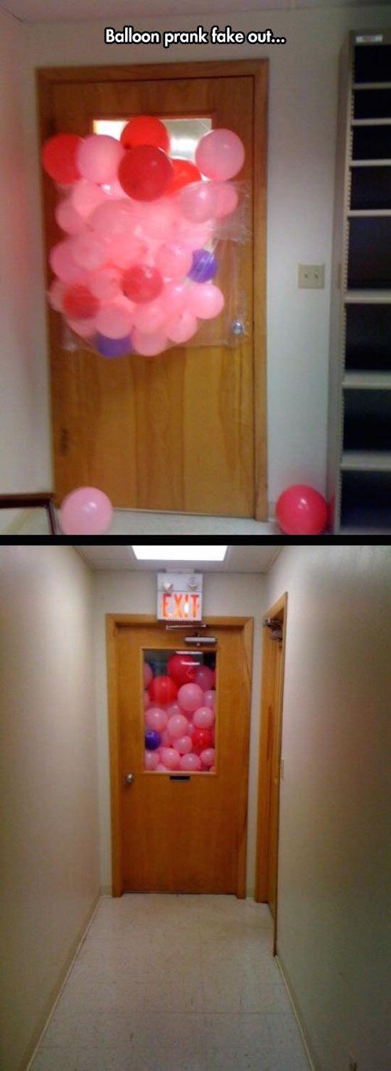 funny photo of fake balloon prank