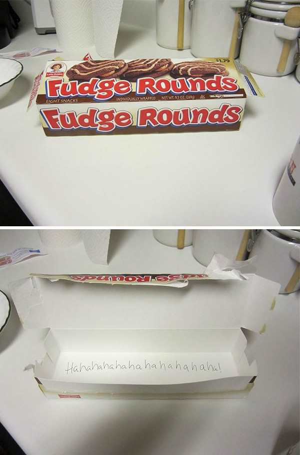 funniest couple prank of hahaha written in box of fudge rounds