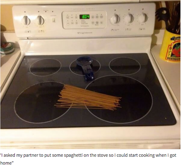 funny picture of husband put spaghetti on the stove as a prank
