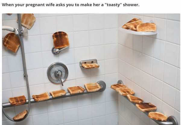 funny picture of toast in the shower for a toasty shower