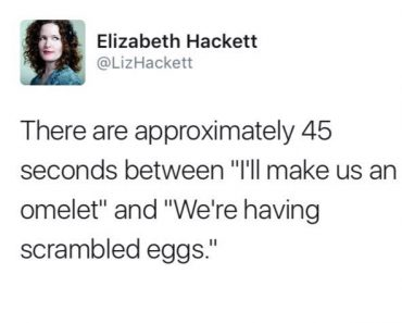 funny tweet about omelet and scrambled eggs