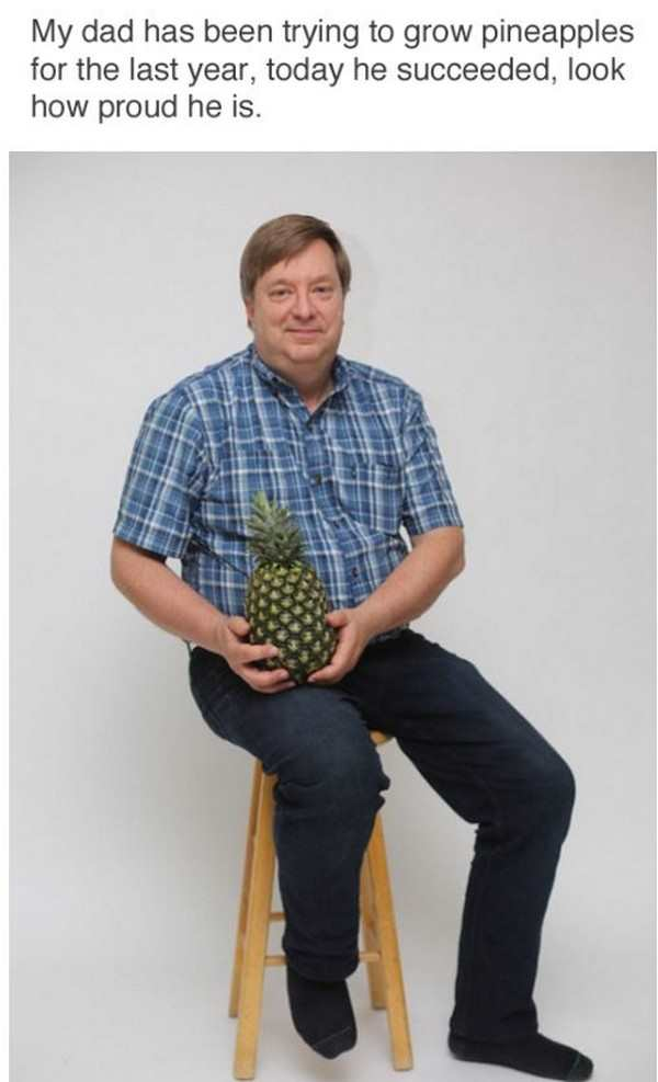 funny picture of dad posing with pineapple
