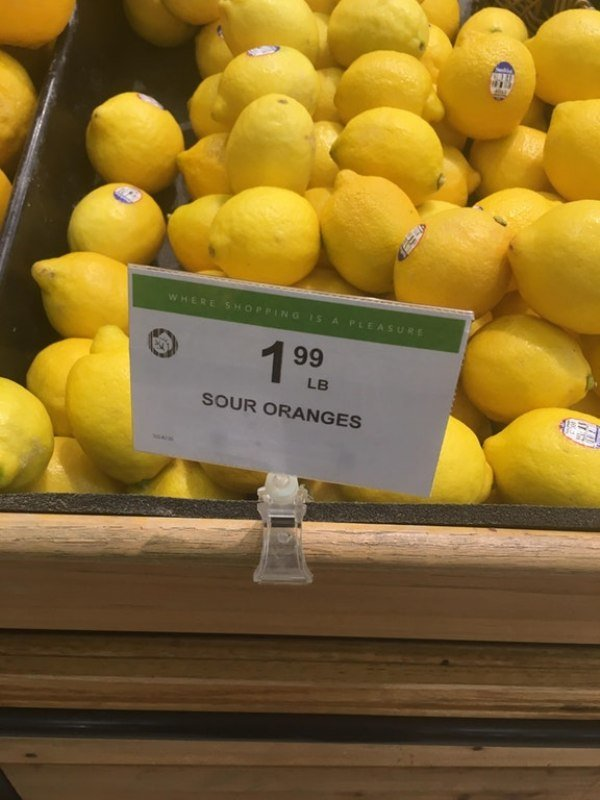 funny photo of lemons labeled as sour oranges