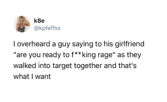 funny pic of tweet about couple getting ready to rage at target