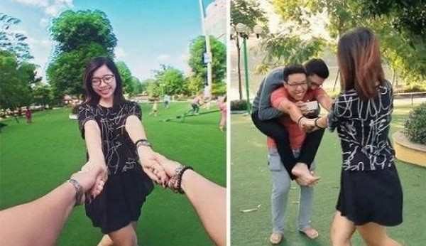 funny pic of reality of taking a holding hands photo