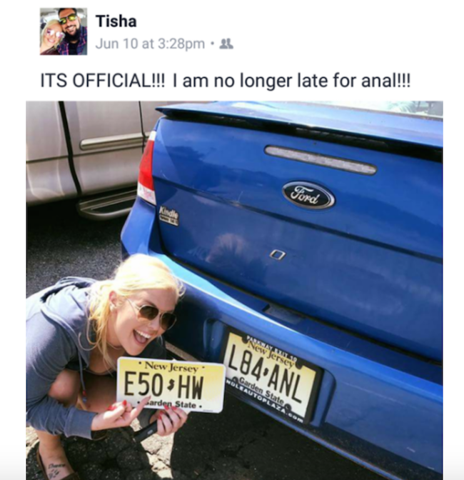 funniest pic of license plate says late for anal