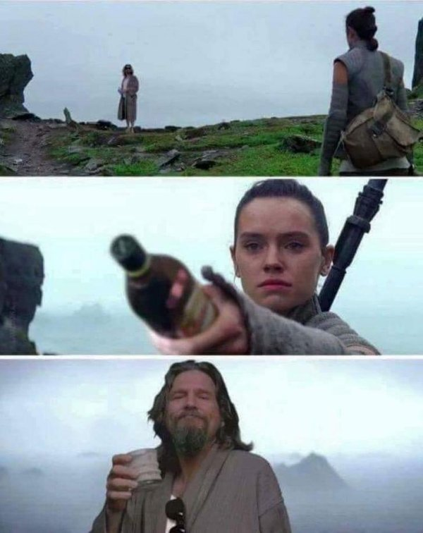 funny photo of rey from star wars giving liquor to the dude from the big lebowski