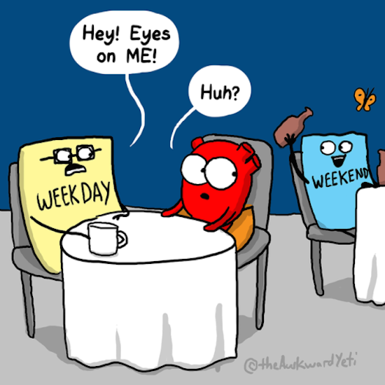 funny image of thesquarecomics comic of weekday saying hey eyes on me