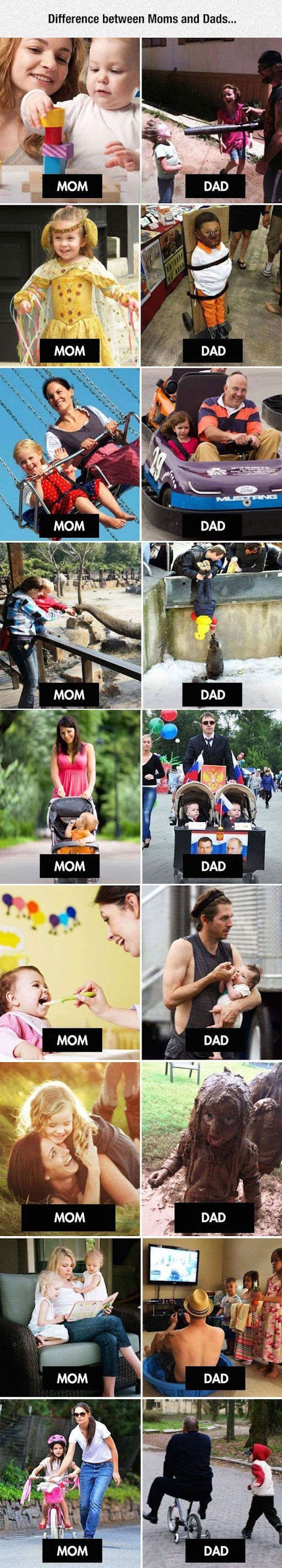 funny picture of differences between moms and dads