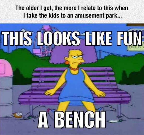 funny pic of this loooks like fun a bench from the simpsons