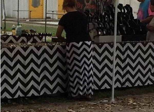 funny pic of woman's skirt matching the counter