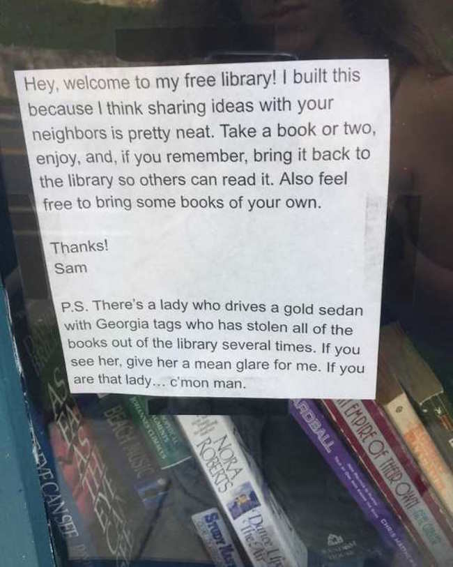 funny photo of sign about an old lady who steals from a free library