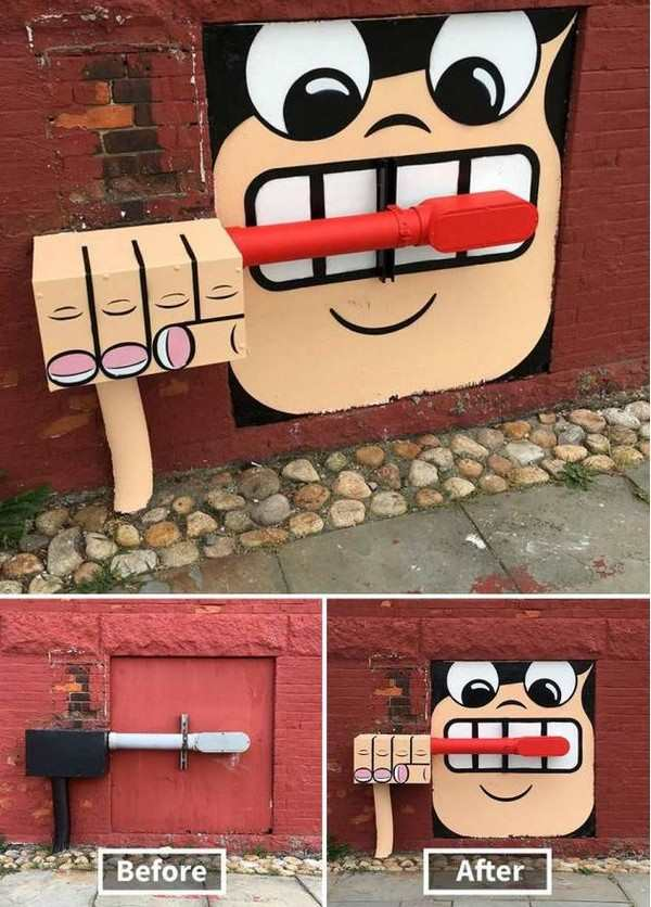 funny photo of brushing teeth mural on door