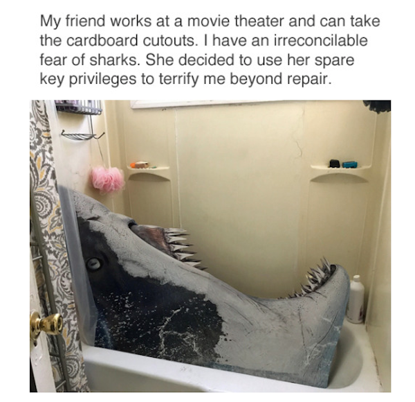 silly picture of shark movie cut out in shower prank