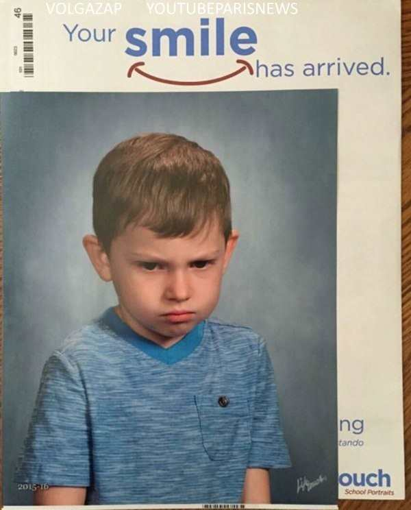 hilarious picture of kid frowning with text that says your shared smile has arrived