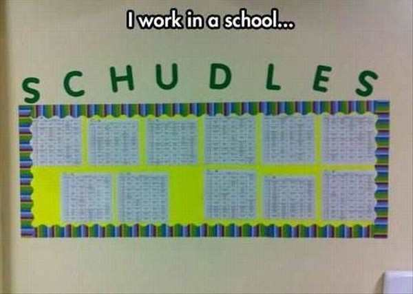 hilarious picture of spelling fail at a school schedule spelled wrong