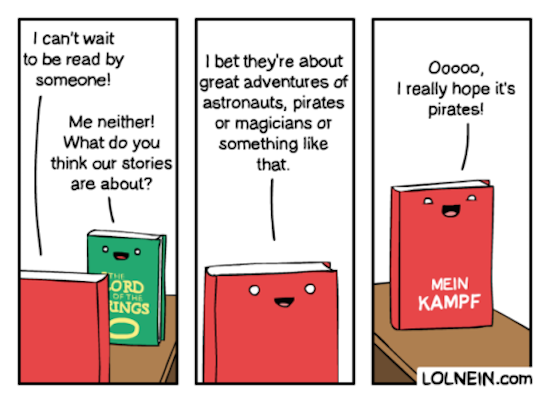 funny pic of comic by lolnein about talking books