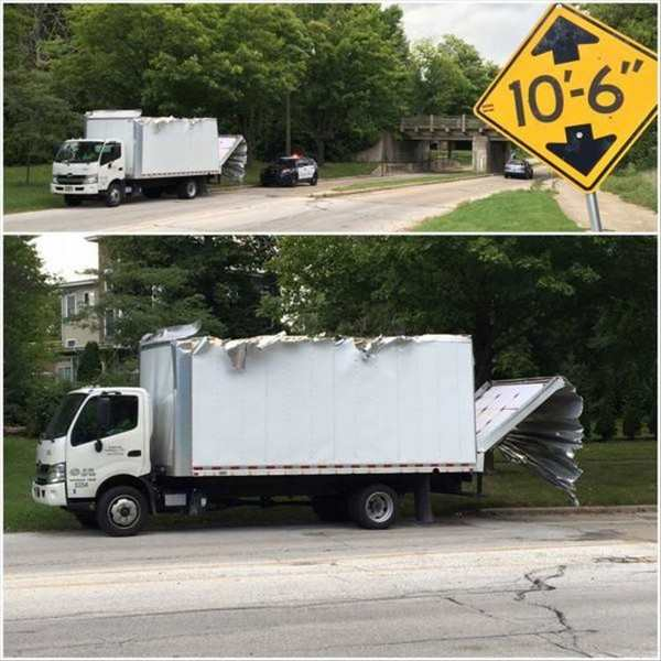 funny pic of truck that was too tall for a tunnel