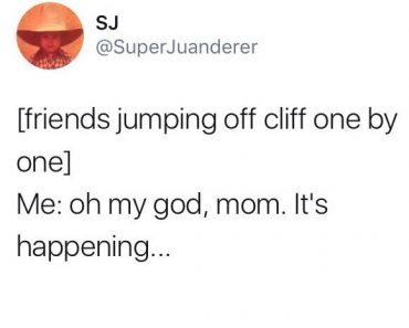funny tweet about friends jumping off cliff by superjuanderer