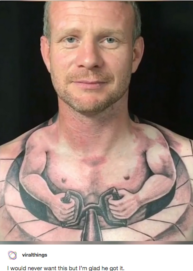 silly picture of guy with tiny body tattoo on his neck and chest