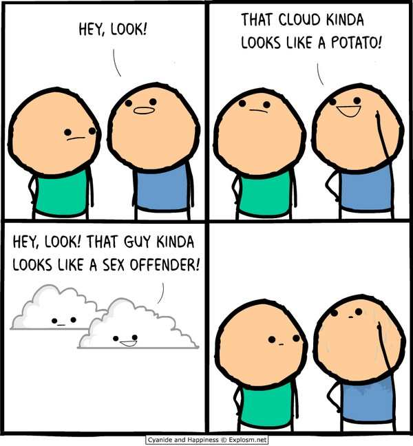 silly picture of comic by cyanide and happines about cloud saying looks like a sex offender