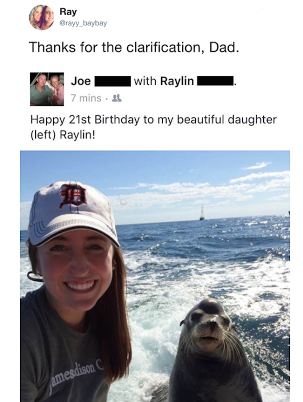 silly picture of dad clarifies that daughter is not sea lion