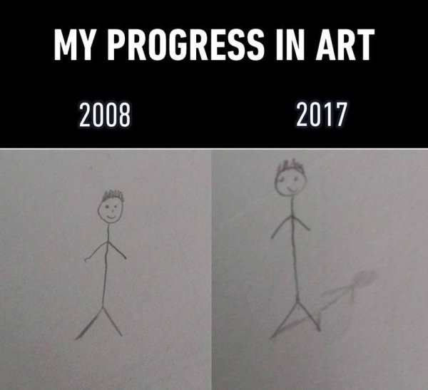 silly pic of stick figure progress in art