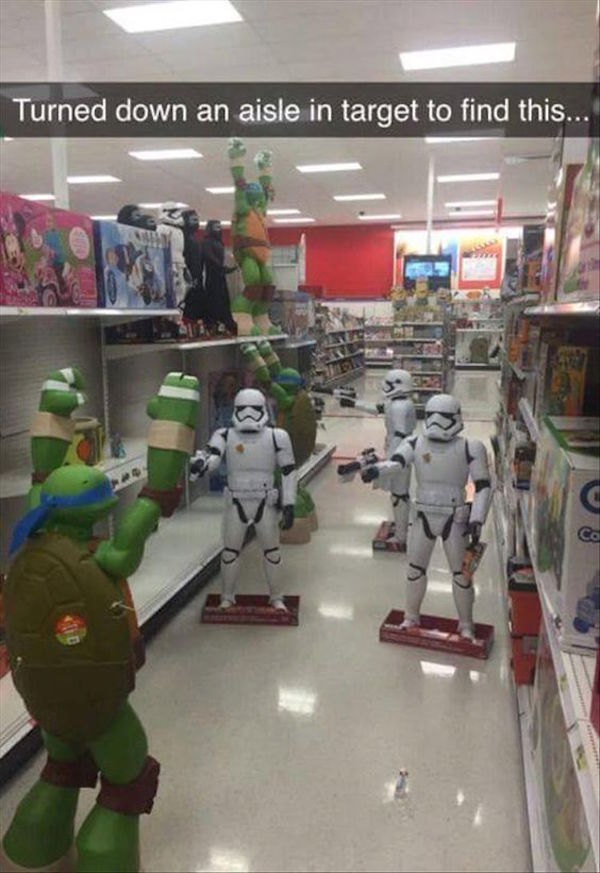 silly image of stormtroopers holding up ninja turtles in target aisle