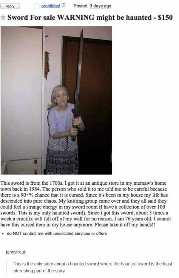 best funny picture of haunted sword craigslist posting