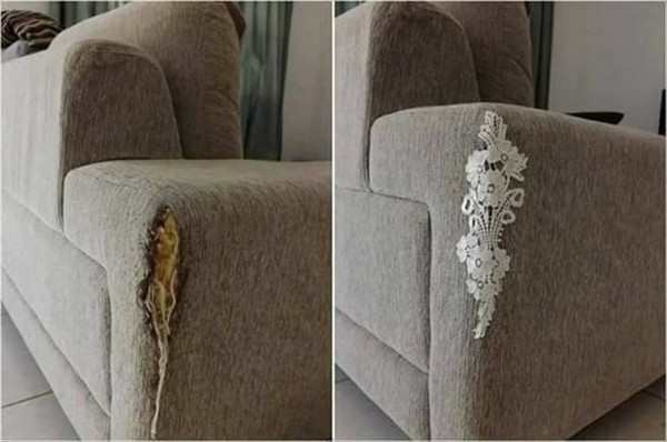 funny photo of lace covering tear on furniture