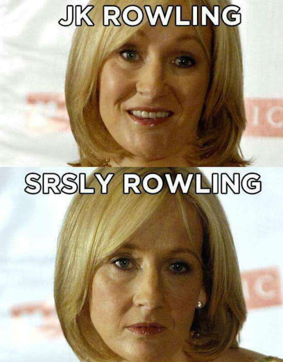funny pic of celebrity name pun for jk rowling srsly rowling