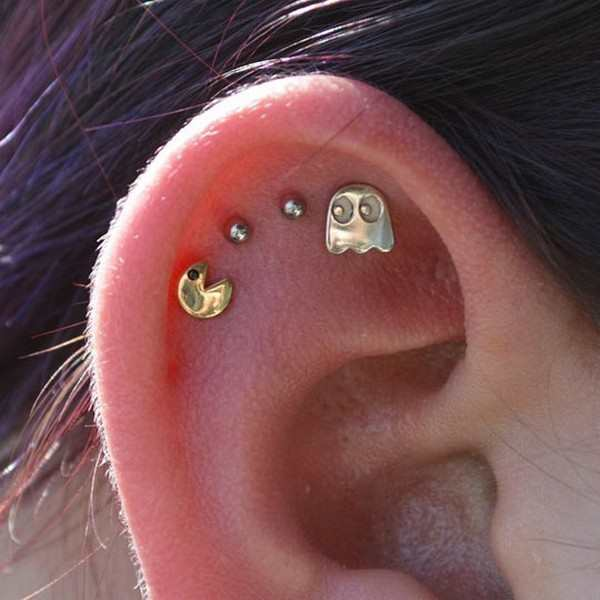 funny pic of pacman earrings