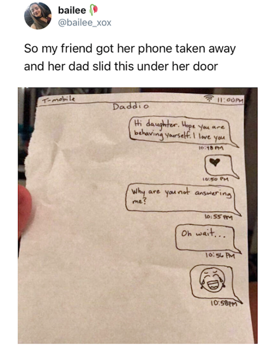 funny pic of dad who drew a picture of a text conversation after taking phone away from daughter