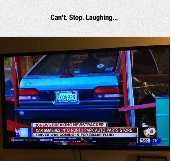 funny pic of headline of a car crash that says the car crashed into the store when it wa coming in for brake fluid