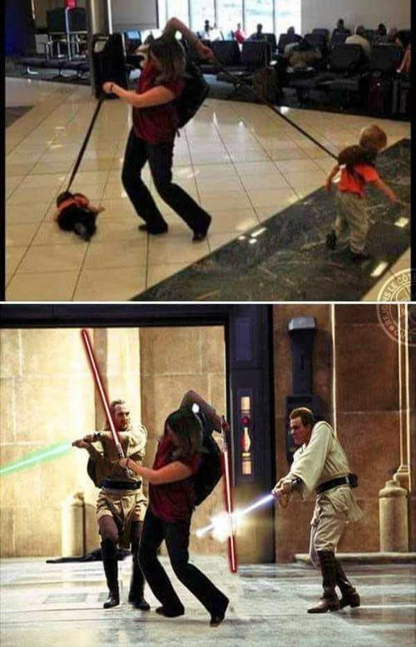 funny photo of women trying to contain two kids on leashes is photoshopped into star wars