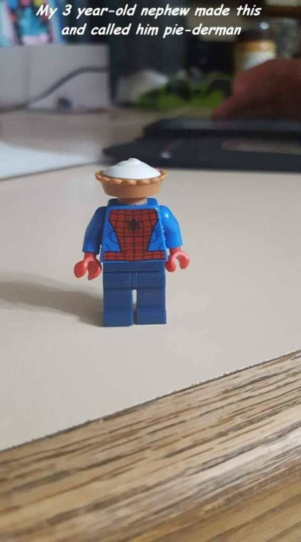 funny image of lego spiderman with pie on his head is now pie-derman