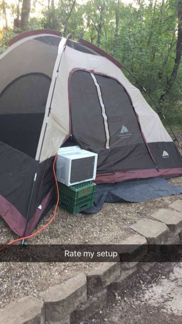 funny image of rate my setup tent with airconditioner