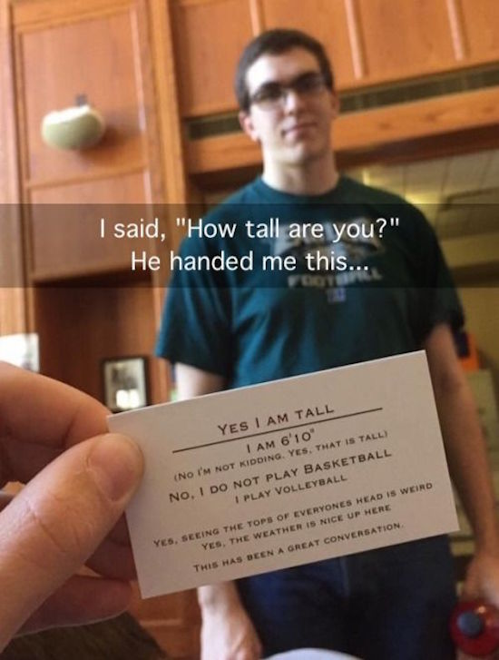 funny image of yes I am tall card