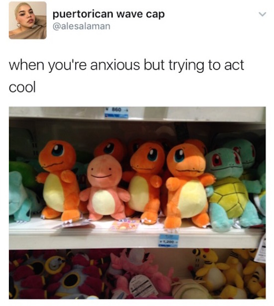 funny pic of when you're anxious but trying to act cool squirtle