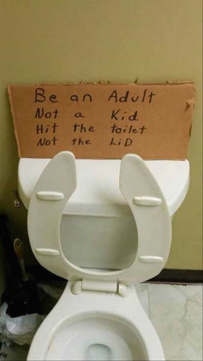 silly photo of be an adult poem on toilet
