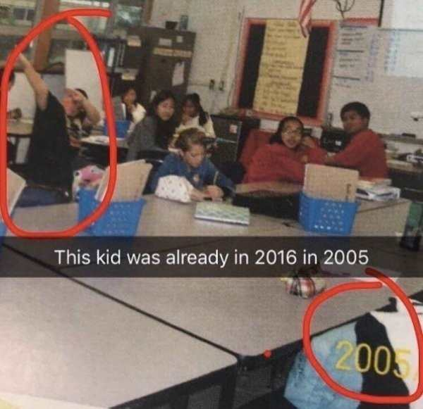 silly photo of kid dabbing in 2005