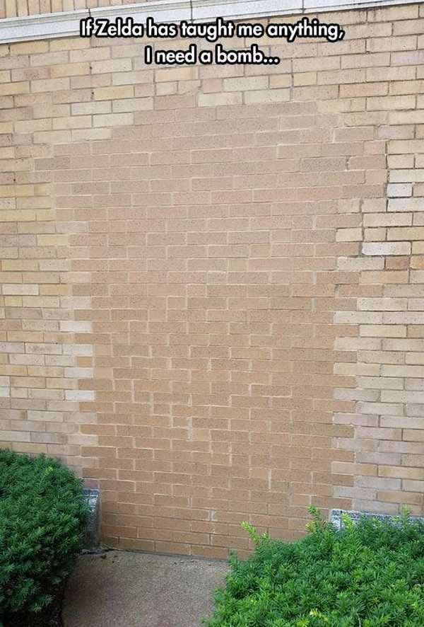 funny picture of wall like in zelda bomb
