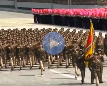 weird video of bee gees music over north koreans marching
